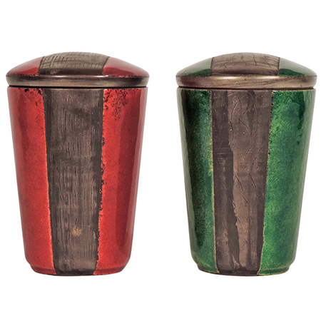 Pair of Italian enamel containers