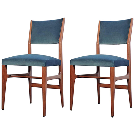 Gio Ponti pair of Mod. 111 chairs for Cassina