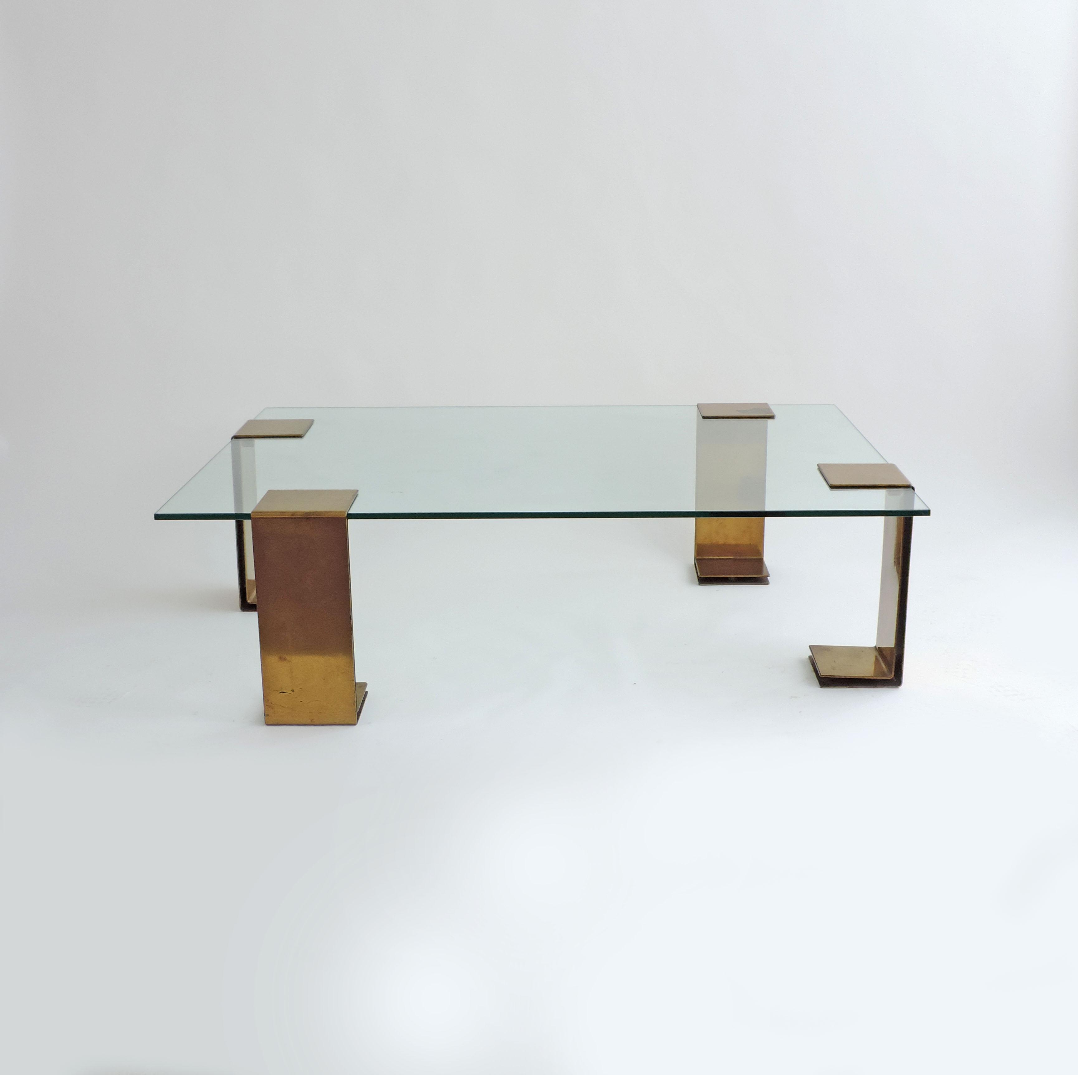 minimalist italian 1970s brass coffee table sggallerymilano sharon goldreich